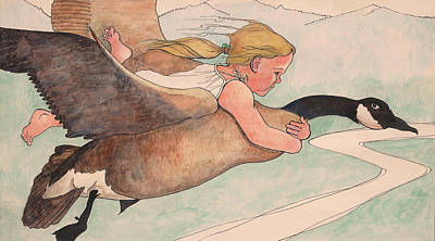 Emily And The Goose Poster by Robert Bissett