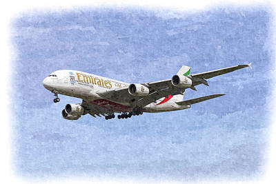 Emirates A380 Airbus Oil Poster by David Pyatt