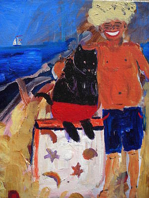 Emmett And Friend At The Beach Poster by R Bruce Macdonald