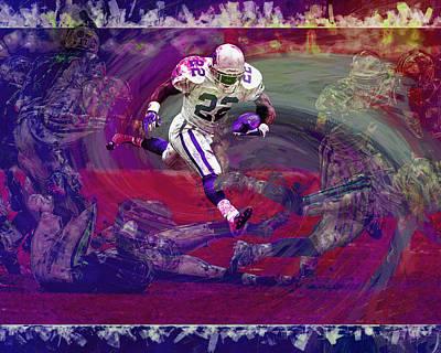 Emmitt Smith Dallas Cowboys Digital Painting Art Poster by David Haskett