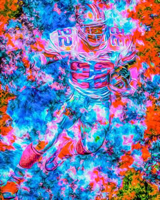 Emmitt Smith Dallas Cowboys Digital Painting Poster by David Haskett
