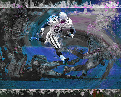 Emmitt Smith Dallas Cowboys Digitally Painted Art Poster