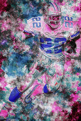 Poster featuring the photograph Emmitt Smith Nfl Football Painting Digital  Es22 One by David Haskett