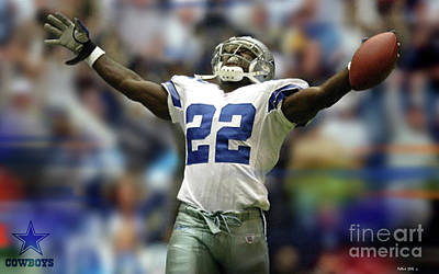Emmitt Smith, Number 22, Running Back, Dallas Cowboys Poster
