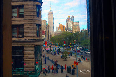 Poster featuring the photograph Empire State Building - Crackled View 2 by Madeline Ellis