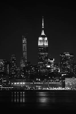 Empire State Building In Black And White Poster by Raymond Salani III