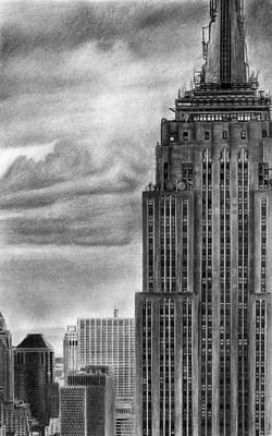 Empire State Building New York Pencil Drawing Poster by David Rives