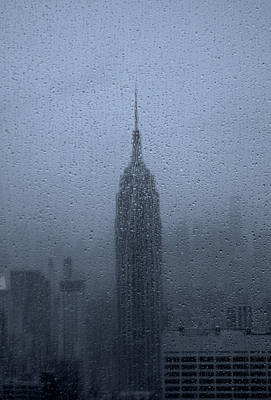 Empire State In The Rain Poster by Martin Newman