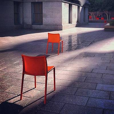 Empty Chairs At Mint Plaza Poster by Julie Gebhardt
