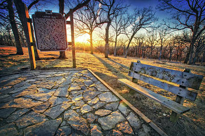 Empty Park Bench - Sunset At Lapham Peak Poster by Jennifer Rondinelli Reilly - Fine Art Photography