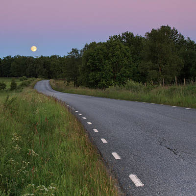 Empty Road In Countryside Landscape Poster by Jens Ceder Photography