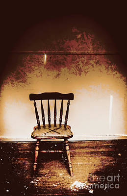 Empty Wooden Chair With Cross Sign Poster