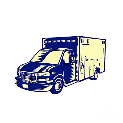 Ems Ambulance Emergency Vehicle Woodcut Poster by Aloysius Patrimonio