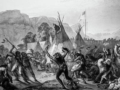 Encampment Of Piekann Native Americans Poster