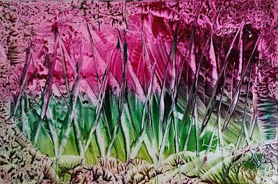 Encaustic Abstract Pinks Greens Poster