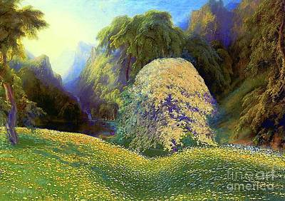 Enchanted By Daisies, Modern Impressionism, Wildflowers, Silver Birch, Aspen Poster