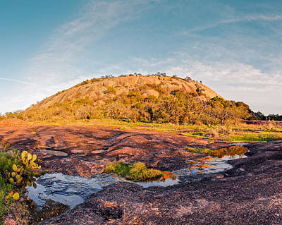 Enchanted Rock Bathed In Golden Hour Sunset Light - Fredericksburg Texas Hill Country Poster by Silvio Ligutti