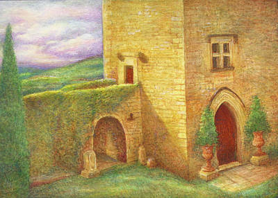 Poster featuring the painting Enchanting Fairytale Chateau Landscape by Judith Cheng
