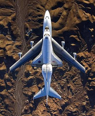 Endeavor Piggyback Over The Mojave Desert Poster by N A S A skeeze