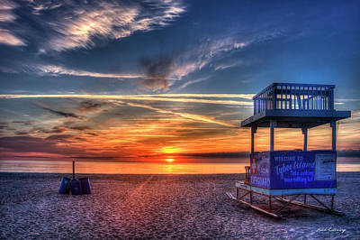 Poster featuring the photograph Endless Summer Sunrise Lifeguard Stand Tybee Island Georgia Art by Reid Callaway