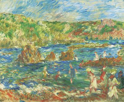 Enfants Sur La Plage Guernsey, C 1883  Poster by Pierre Auguste Renoir