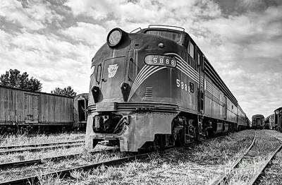 Engine Number 5888 Black And White Poster by Mel Steinhauer