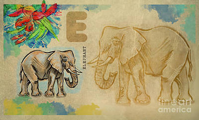 Poster featuring the drawing English Alphabet , Elephant by Ariadna De Raadt