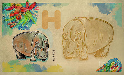 Poster featuring the drawing English Alphabet ,  Hippos by Ariadna De Raadt