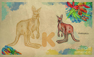 Poster featuring the drawing English Alphabet , Kangaroo by Ariadna De Raadt