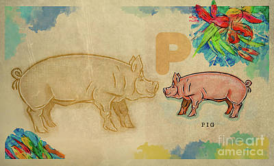 Poster featuring the drawing English Alphabet , Pig by Ariadna De Raadt