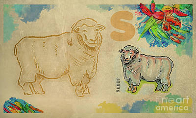 Poster featuring the drawing English Alphabet , Sheep  by Ariadna De Raadt