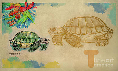 Poster featuring the drawing English Alphabet , Turtle  by Ariadna De Raadt