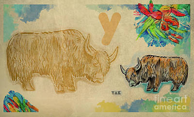 Poster featuring the drawing English Alphabet , Yak  by Ariadna De Raadt