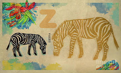 Poster featuring the drawing English Alphabet , Zebra by Ariadna De Raadt