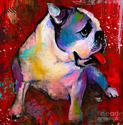 English American Pop Art Bulldog Print Painting Poster by Svetlana Novikova