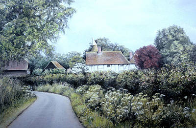 Poster featuring the painting English Country Lane by Rosemary Colyer