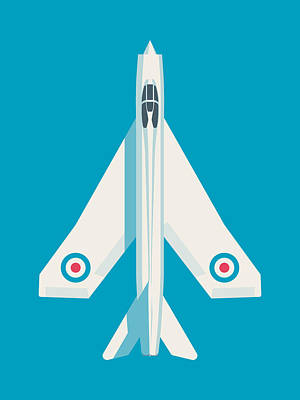English Electric Lightning Fighter Jet Aircraft - Blue Poster by Ivan Krpan