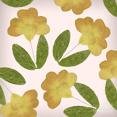 English Garden Pressed Yellow Rose Pattern Poster