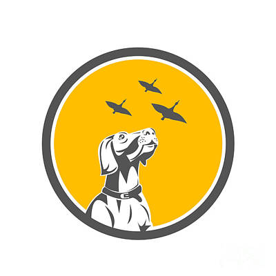 English Pointer Dog Looking At Geese Circle Retro Poster