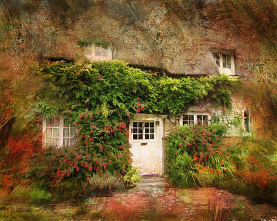 English Thatched Cottage On The Isle Of Wight Poster by Carla Parris