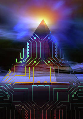 Poster featuring the digital art Enigma Of Ancient Technology by Shadowlea Is