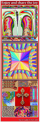 Enjoy N Share The Joy 3in1 Graphic Popular Fineart Vertical Collage Poster by Navin Joshi