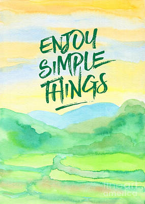 Enjoy Simple Things Rice Paddies Watercolor Painting Poster