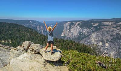 Enjoying At Yosemite Summit Poster