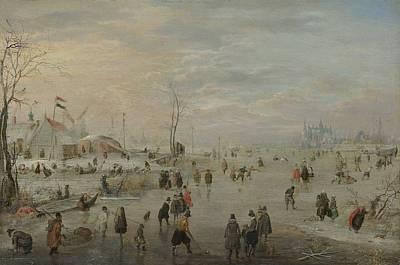 Enjoying The Ice, 1615 Poster by Hendrick Avercamp