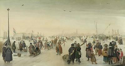 Enjoying The Ice Near A Town, 1620 Poster by Hendrick Avercamp