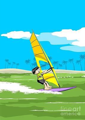 Enjoying Windsurfing On An Island Vacation Poster