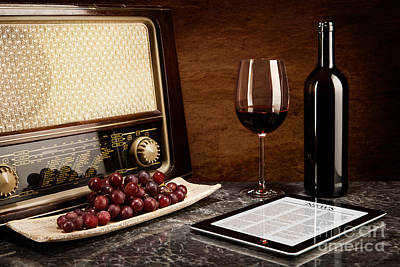 Enjoying Wine With Old Music And Modern Technology Poster by Wolfgang Steiner