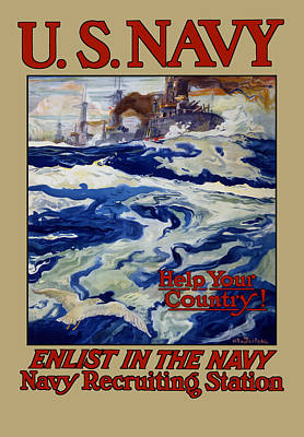 Enlist In The Navy - Help Your Country Poster by War Is Hell Store