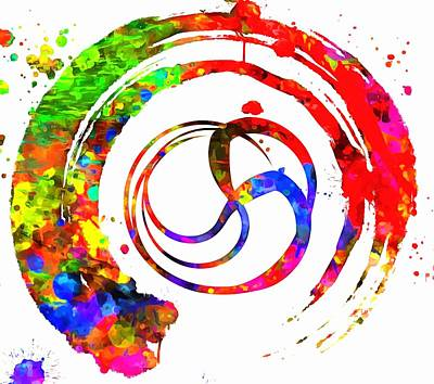 Enso Colorful Paint Circle Poster by Dan Sproul
